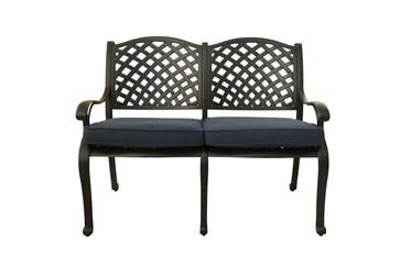 New Haven Dark Bronze Outdoor Bench With Denim Blue Cushion