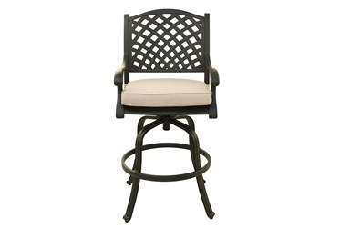 """New Haven Dark Bronze Outdoor 30"""" Barstool With Canvas Natural Cushion- Set Of 2"""