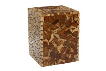 14X19 Brown Teak Wood Stool