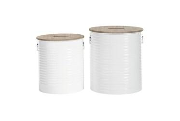 White Iron Storage Stool Set Of 2