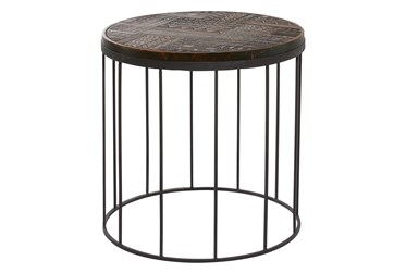 24X24 Multi Color Wood Accent Table