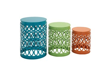 Multi Color Iron Accent Table Set Of 3