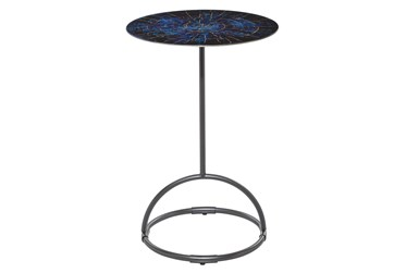 15X22 Blue Iron Accent Table