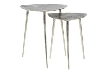 Grey Aluminum Accent Table Set Of 2
