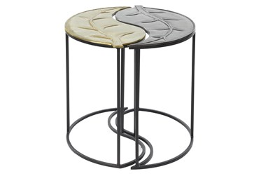 Multi Color Iron Accent Table Set Of 2