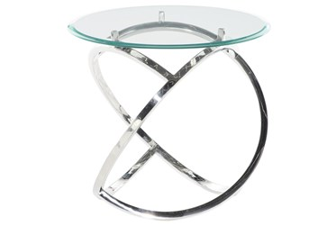 27X25 Silver Stainless Steel Accent Table