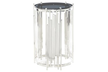 17X26 Silver Stainless Steel Accent Table