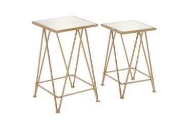 Gold Iron Accent Table Set Of 2