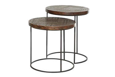 Brown Wood Accent Table Set Of 2