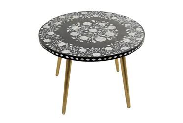 30X21 Gold Metal+Wood Coffee Table