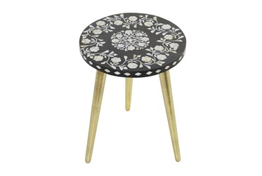 16X21 Gold Wood Accent Table