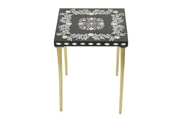 16X20 Gold Wood Accent Table