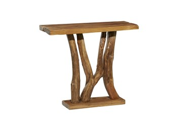 36X32 Brown Teak Wood Console Table