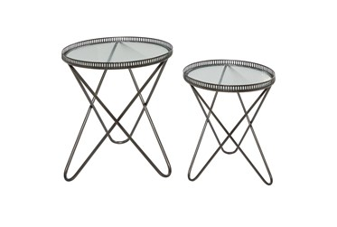 Grey Iron Accent Table Set Of 2