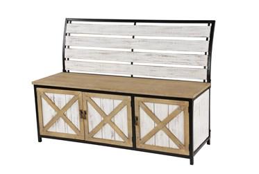 48X35 Brown Chinese Fir Wood Storage Bench