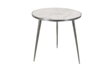 21X21 Silver Stone Accent Table