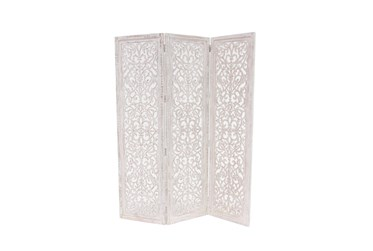 60X69 White Wood  Room Divider Screen