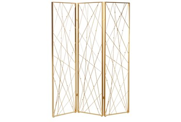 60X79 Gold Iron Room Divider Screen