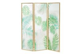 62X73 Green Glass+Metal Room Divider Screen
