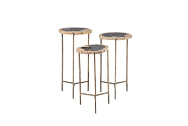 Multi Color Fossil Stone Accent Table Set Of 3