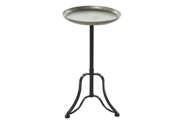 15X27 Silver Iron Accent Table