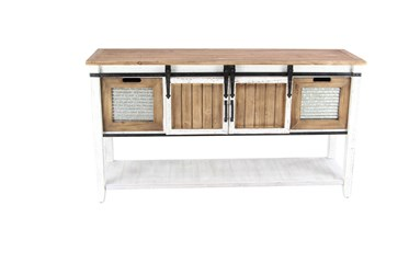55X30 Brown Chinese Fir Wood Console Table