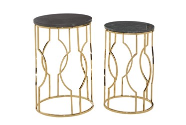 Multi Color Marble Accent Table Set Of 2