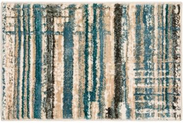 """20""""X30"""" Rug-Jacinto Blue/Beige Stripes"""